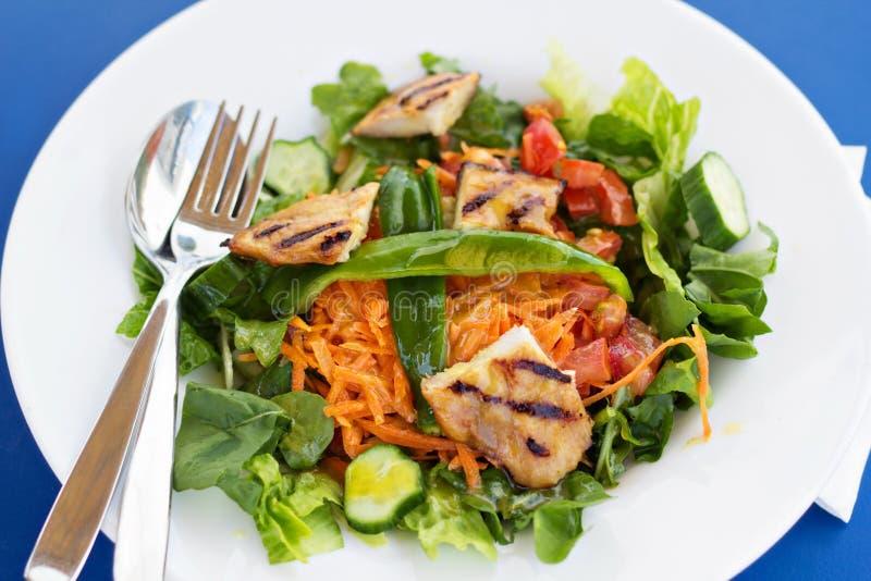 Insalata con il pollo arrostito e le verdure fotografia stock