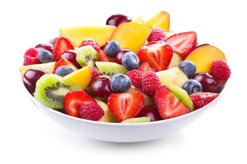 Insalata con la frutta fresca e le bacche fotografie stock libere da diritti