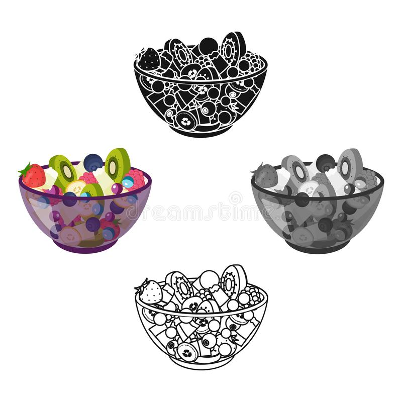 Insalata dai vari generi di frutta Singola icona della frutta nel web dell'illustrazione delle azione di simbolo di vettore di st royalty illustrazione gratis