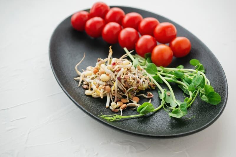Insalata dei semi germinati delle lenticchie del pisello del lino e di altri grani Concetto macrobiotico dell'alimento Fine in su fotografia stock libera da diritti