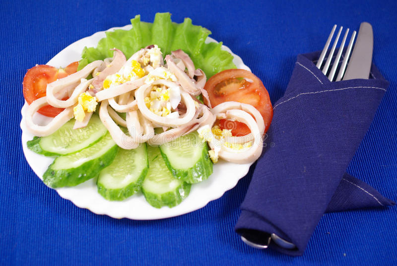 Insalata del calamaro con l'uovo immagine stock