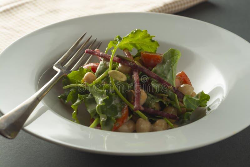Insalata del cece con gli ortaggi freschi - cetrioli, pomodori, pisello, preparato dell'insalata, barbabietola, spinaci Alimento  immagine stock libera da diritti