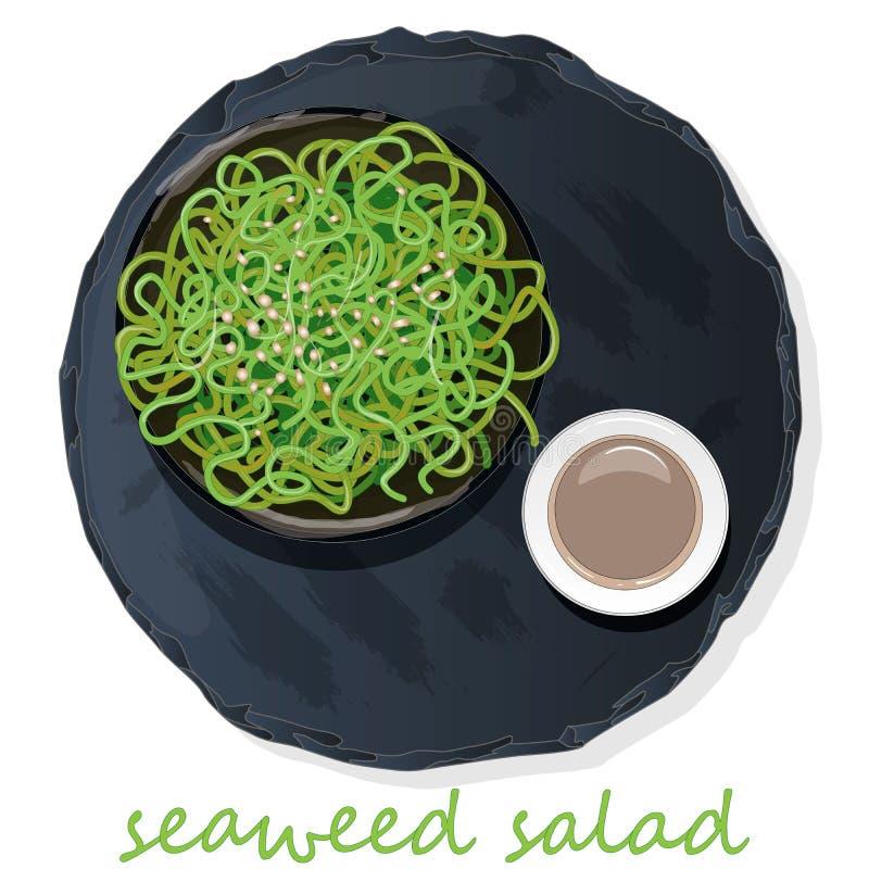 Insalata dell'alga e dei sushi sull'illustrazione di vettore della tavola dell'ardesia illustrazione di stock