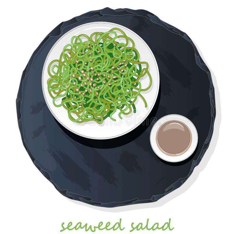 Insalata dell'alga e dei sushi sull'illustrazione di vettore della tavola dell'ardesia royalty illustrazione gratis
