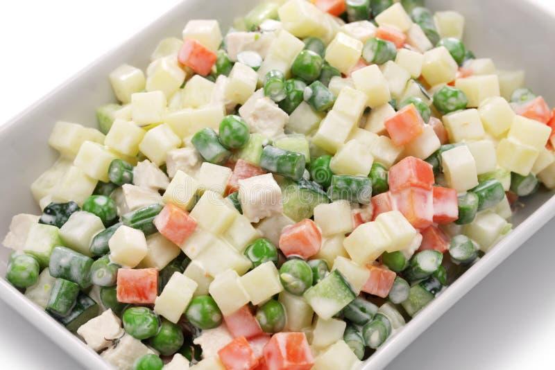Insalata della Macedonia, macedoine de legumes, insalata di verdure mista fotografia stock