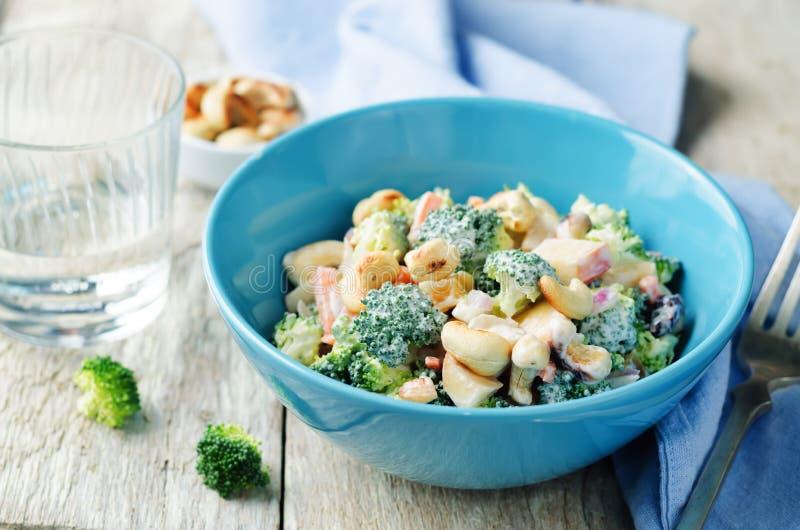 Insalata della mela degli anacardii della carota dei broccoli con i dres greci del yogurt del miele immagini stock