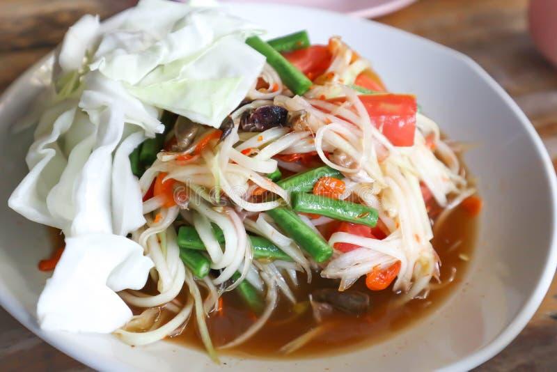 Insalata della papaia, insalata piccante o insalata tailandese fotografia stock libera da diritti