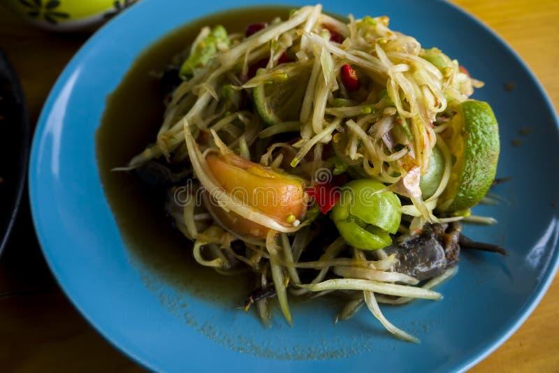 Insalata della papaia in Tailandia fotografia stock