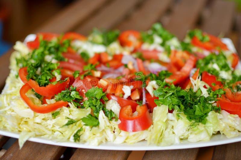 Insalata della verdura fresca con cavolo e la carota immagini stock