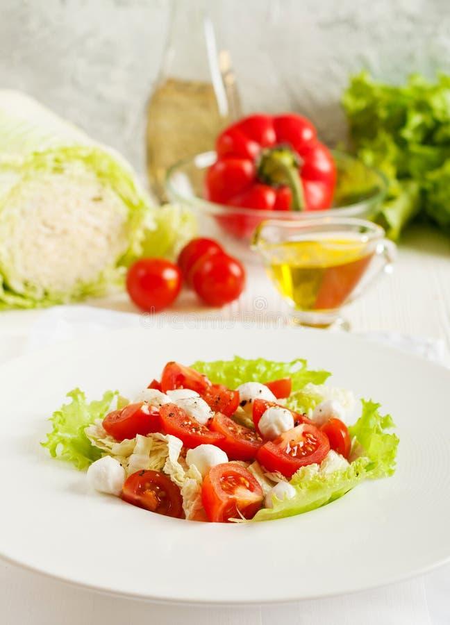 Insalata della verdura fresca con i pomodori ciliegia immagine stock libera da diritti