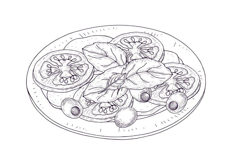 Insalata di Caprese sul piatto disegnato a mano con le linee di contorno su fondo bianco Il pasto italiano saporito sano del rist royalty illustrazione gratis