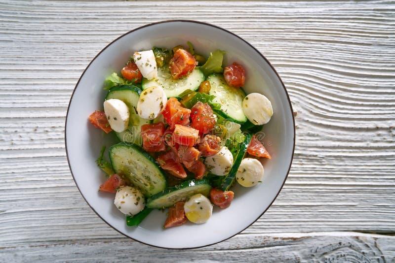 Insalata di color salmone del cetriolo del pomodoro della mozzarella immagini stock libere da diritti