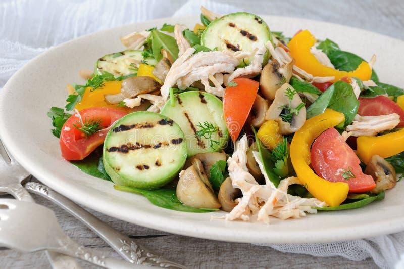 Insalata di pollo calda con le verdure fotografie stock libere da diritti
