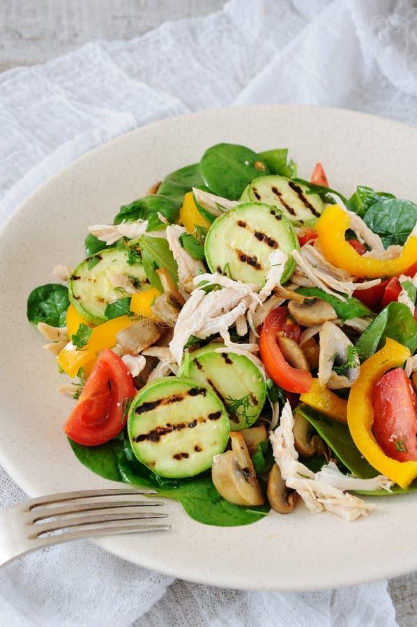 Insalata di pollo calda con le verdure immagini stock libere da diritti