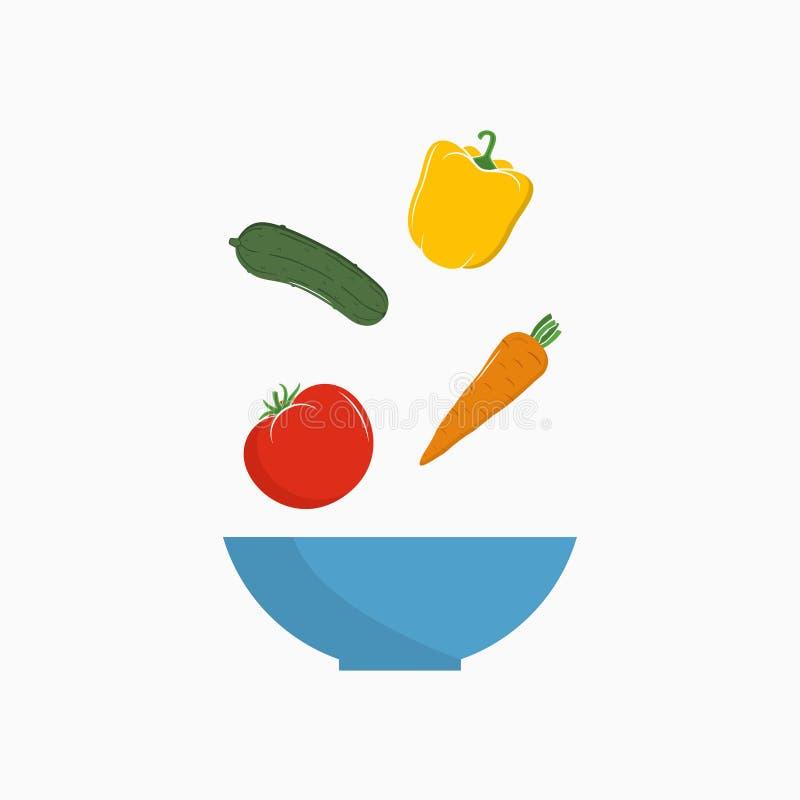 Insalata di verdure con gli ingredienti freschi di caduta in ciotola Ricetta di insalata Vettore royalty illustrazione gratis