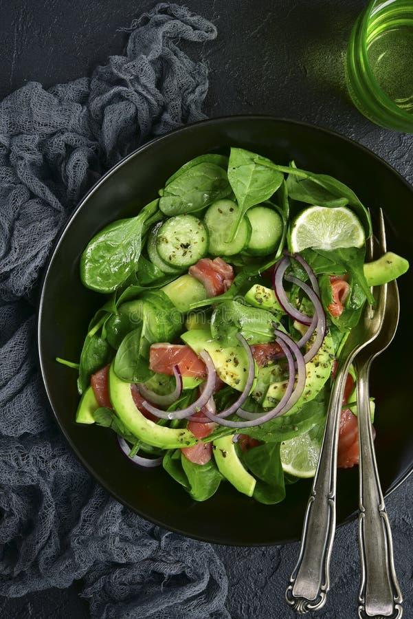 Insalata di verdure con il salmone salato Vista superiore fotografie stock libere da diritti