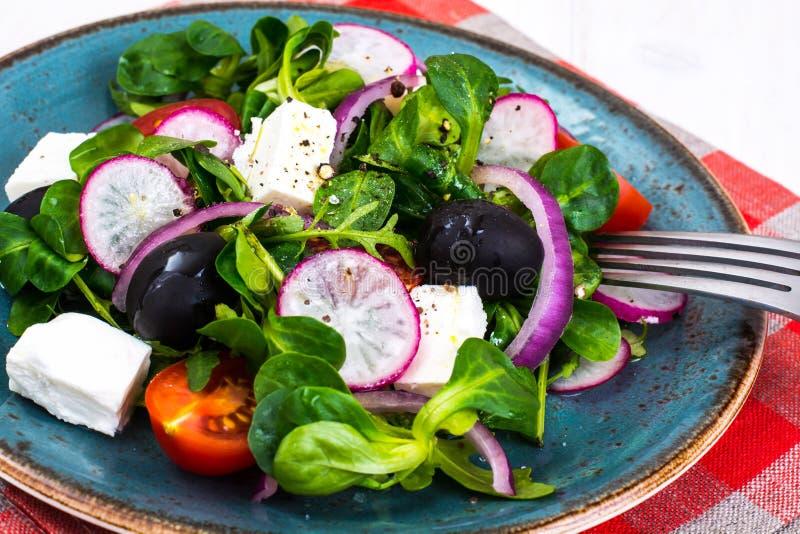 Insalata di verdure con le olive nere e la feta fotografie stock