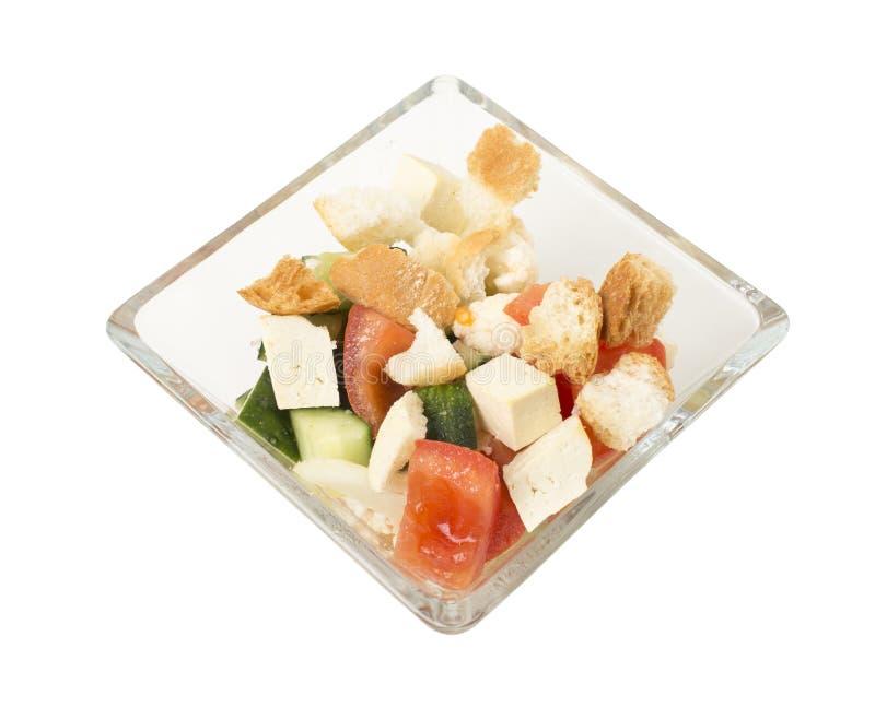 Insalata di verdure deliziosa con il formaggio del tofu fotografia stock