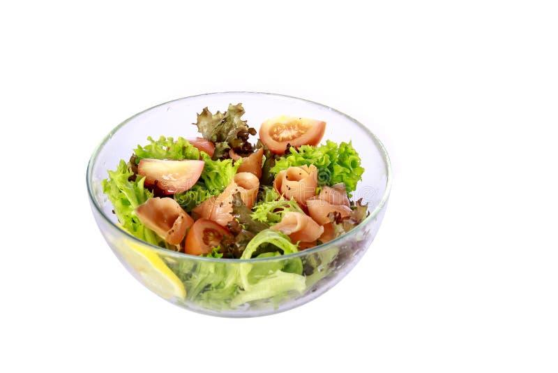 Insalata di verdure di color salmone fotografia stock