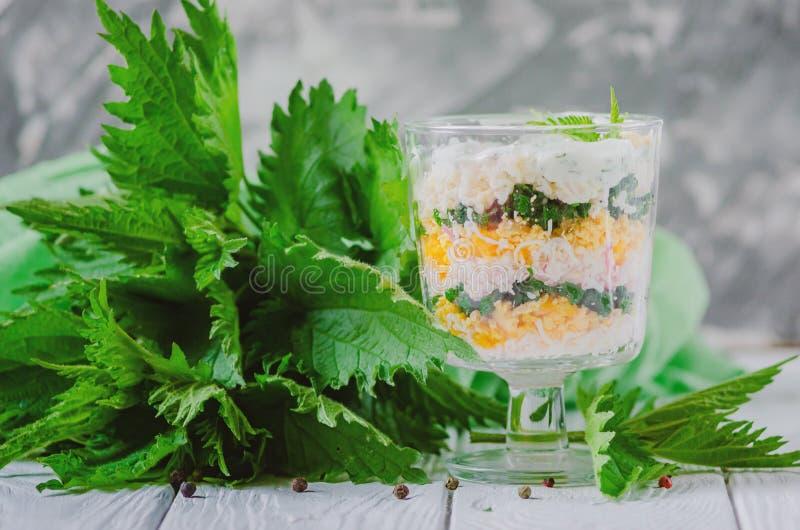 Insalata esotica con le ortiche e le uova in un rivestito di vetro negli strati immagini stock libere da diritti
