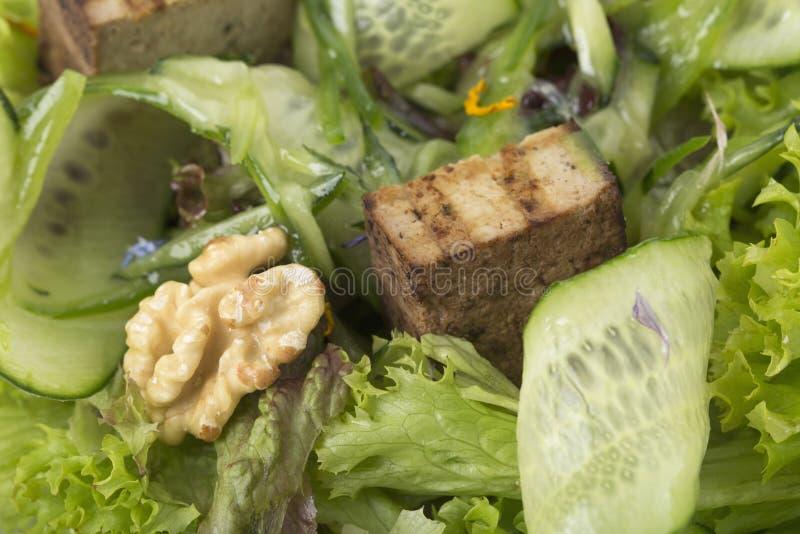 Insalata fresca con le noci ed il formaggio del tofu immagini stock libere da diritti