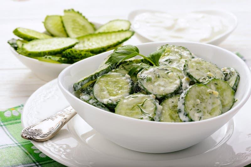 Insalata fresca del cetriolo con yogurt e le erbe fotografie stock