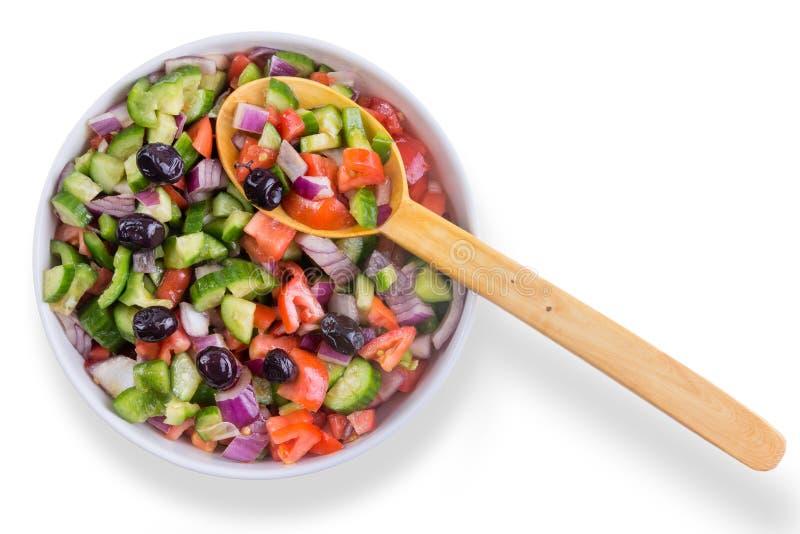 Insalata fresca del pastore del turco con le olive fotografia stock libera da diritti