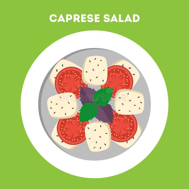 Insalata fresca di Caprese Basilico, formaggio e pomodoro illustrazione di stock