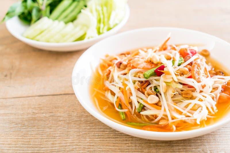 insalata piccante della papaia (alimento tailandese tradizionale) fotografia stock libera da diritti