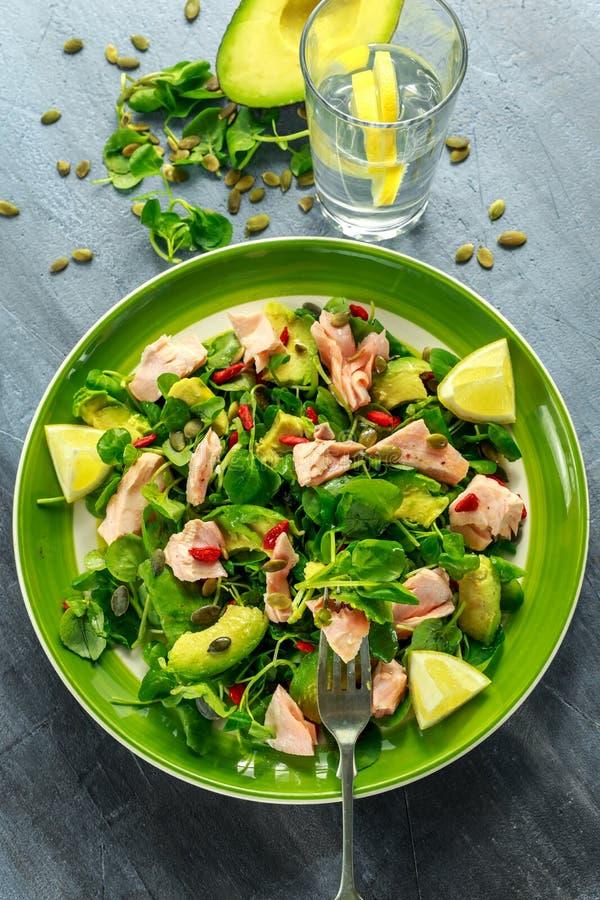 Insalata sana dell'avocado, del salmone con crescione e bacche di goji, miscela del seme di zucca sul piatto verde fotografia stock libera da diritti