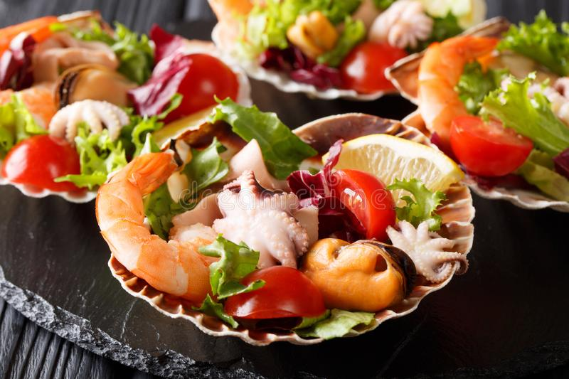 Insalata sana dello spuntino del gamberetto dei frutti di mare, del polipo del bambino, cozze e immagini stock libere da diritti