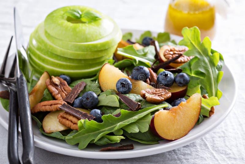 Insalata sana fresca con i verdi e la mela immagine stock libera da diritti