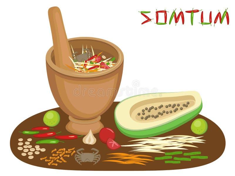 Insalata tailandese della papaia di Somtum dell'alimento illustrazione di stock