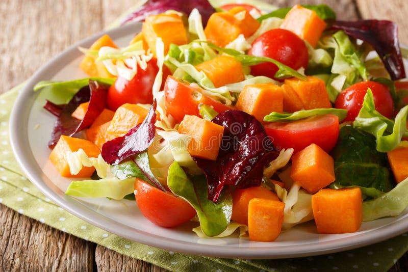 Insalata vegetariana fresca con la patata dolce al forno, le verdure e la h fotografia stock