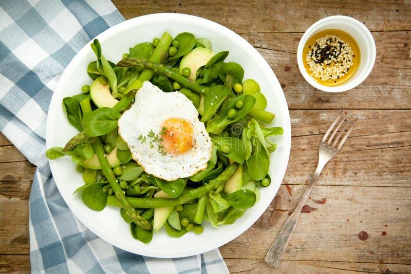 Insalata verde della molla sana con l'uovo fotografia stock