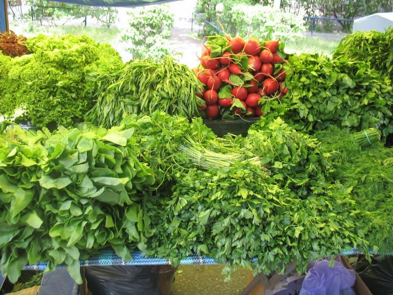 Insalate verdi fresche sul mercato dell'agricoltore fotografie stock