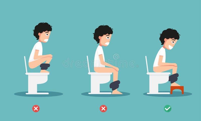 Insalubre contra posições saudáveis para defeque a ilustração ilustração royalty free