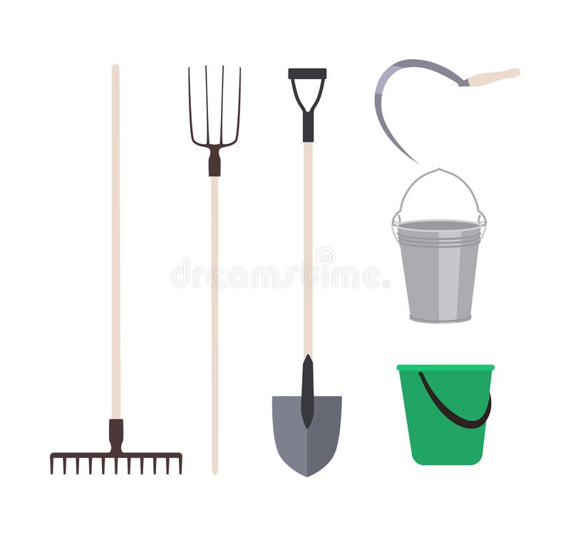 Insamling av trädgårdsverktyg eller jordbruksredskap som isolerats på vit bakgrund - räkor, pechaffel, hinkar royaltyfri illustrationer