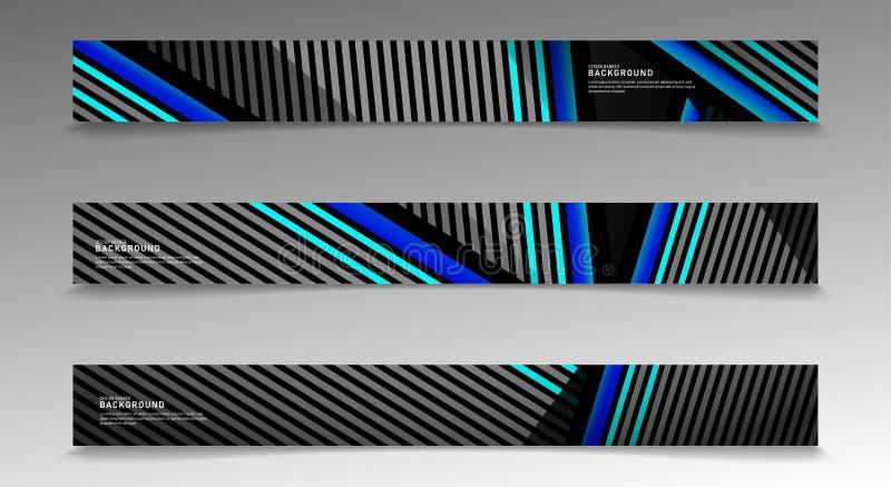 Insamlingsvektorbanderoller abstrakt strimlad bakgrund med vita och blå färger webbdesign, presentation, reklam etc. vektor illustrationer