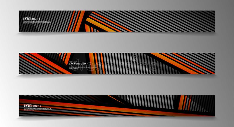 Insamlingsvektorbanderoller abstrakt strimlad bakgrund med vita och orange färger webbdesign, presentation, reklam etc. royaltyfri illustrationer