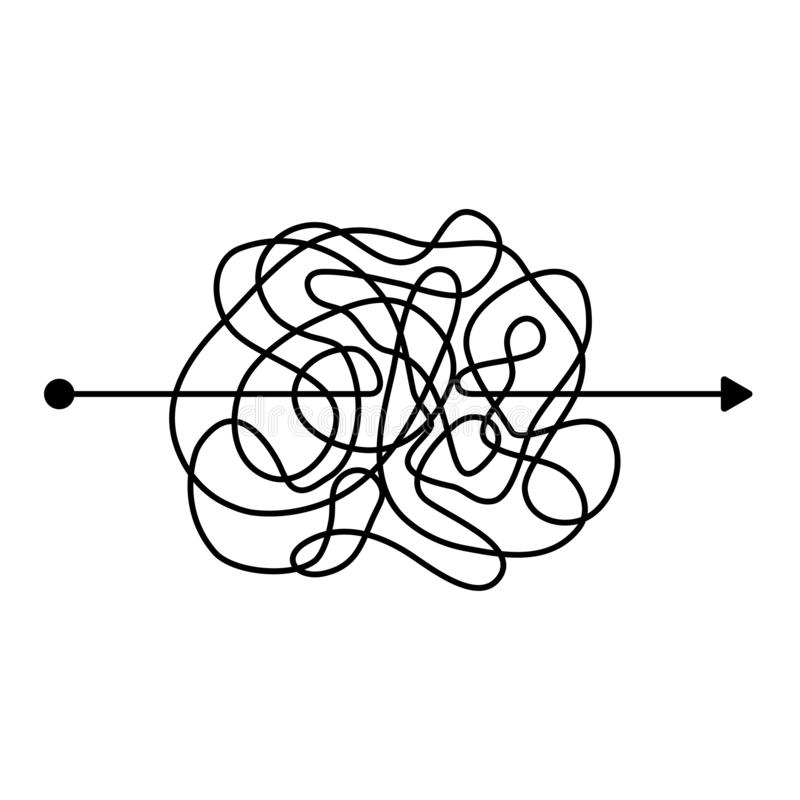 Insane messy black line. Vector illustration. Insane messy black line, complicated clew way. Tangled scribble path. Chaotic difficult proces. template. Vector stock illustration