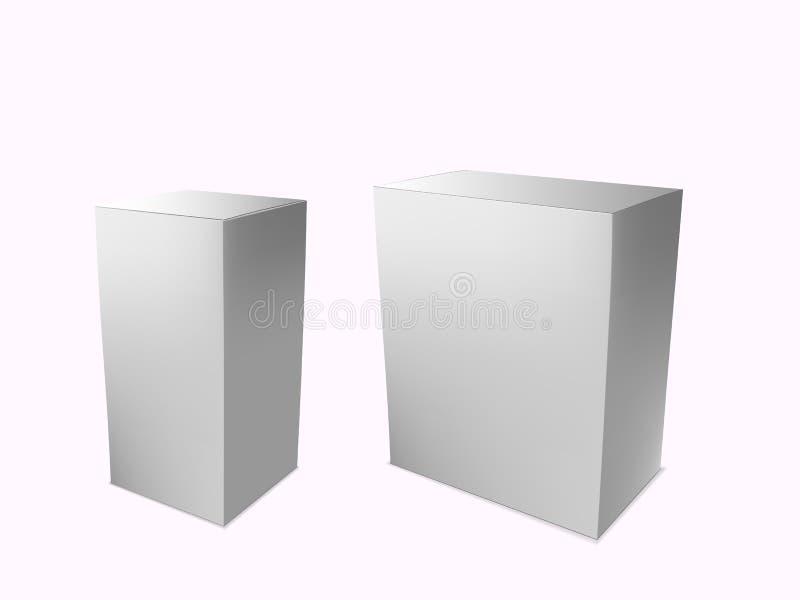Inscatola i cartoni d'imballaggio di carta dei prodotti 3d isolati su bianco Modello di vettore illustrazione di stock