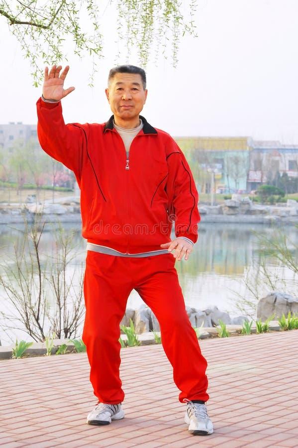 Inscatolamento di Taiji del gioco dell'uomo anziano immagine stock