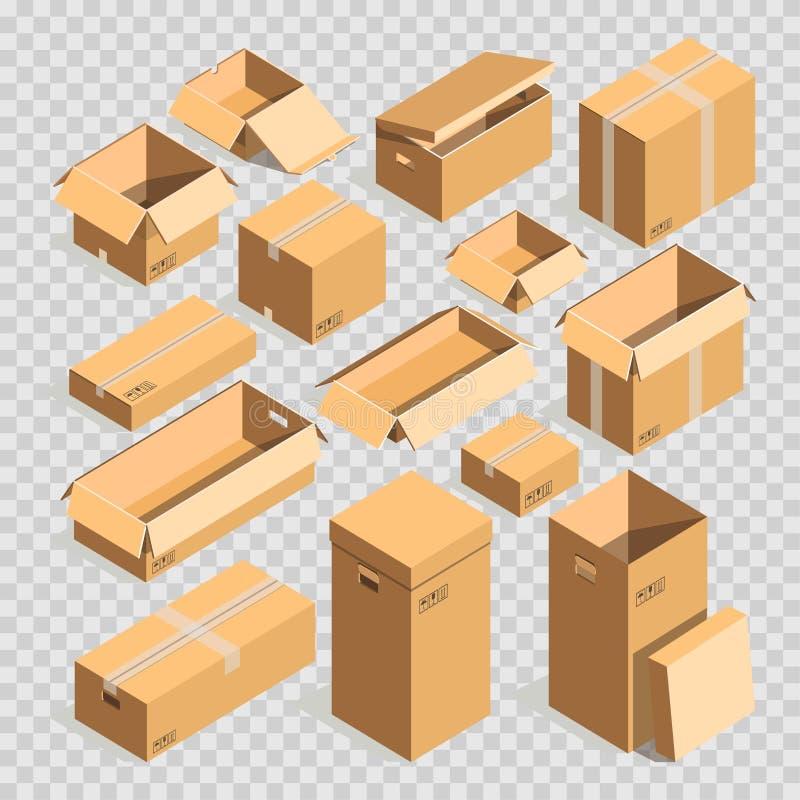 Inscatoli il fondo trasparente messo modelli di vettore del pacchetto della posta del cartone o della scatola di carta illustrazione di stock