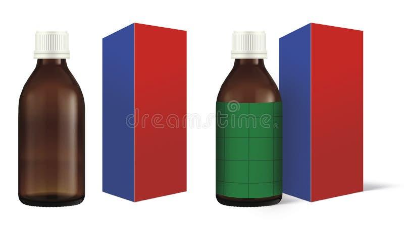 Inscatoli la bottiglia della medicina della scatola della medicina, fotografia stock libera da diritti