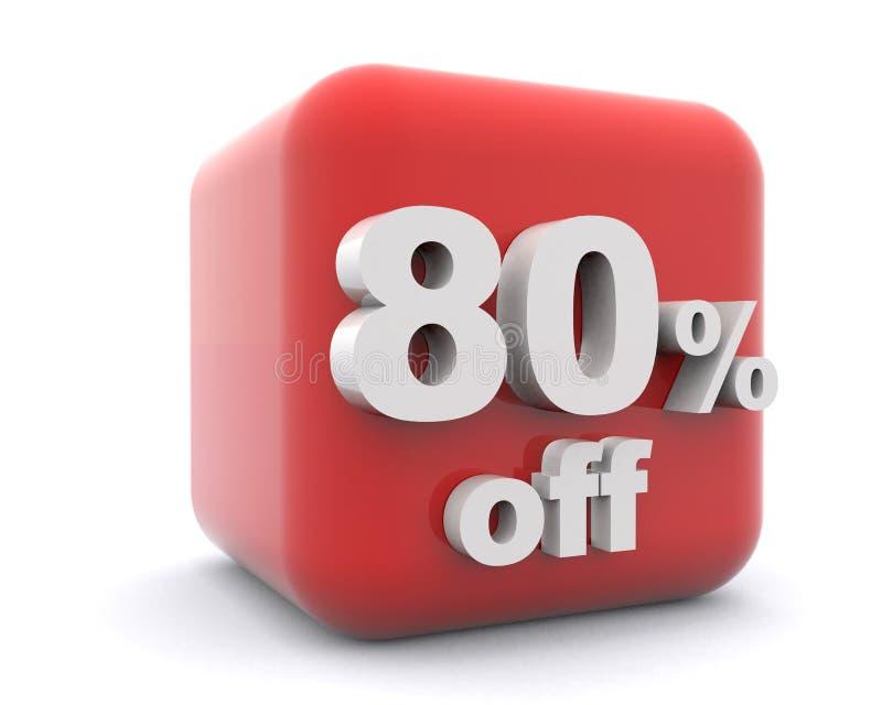 Inscatoli le percentuali rosse 80 di sconto su fondo bianco royalty illustrazione gratis