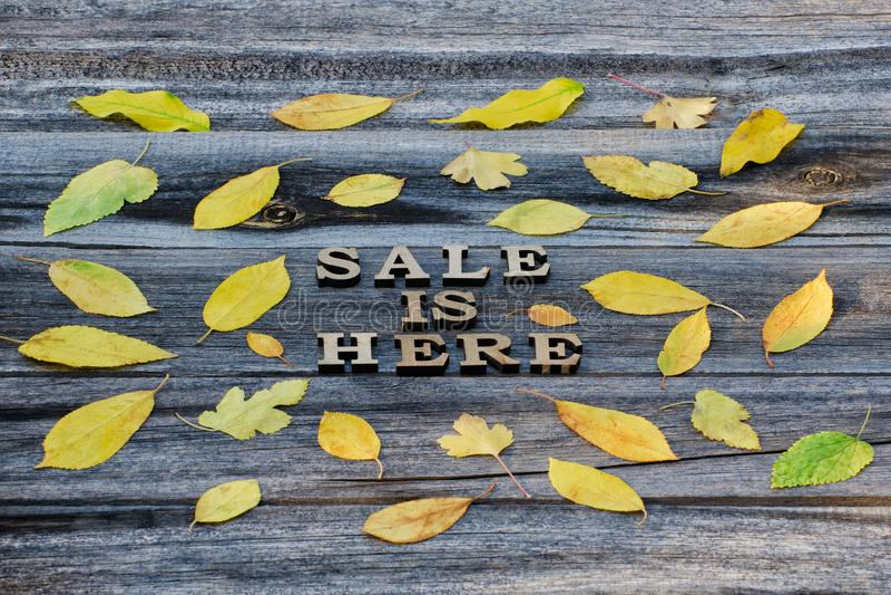 inschrijving De verkoop is hier Houten brieven Kader van geel verlof royalty-vrije stock foto's