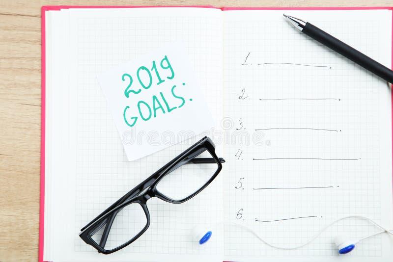 Inschrijving 2019 doelstellingen stock foto's