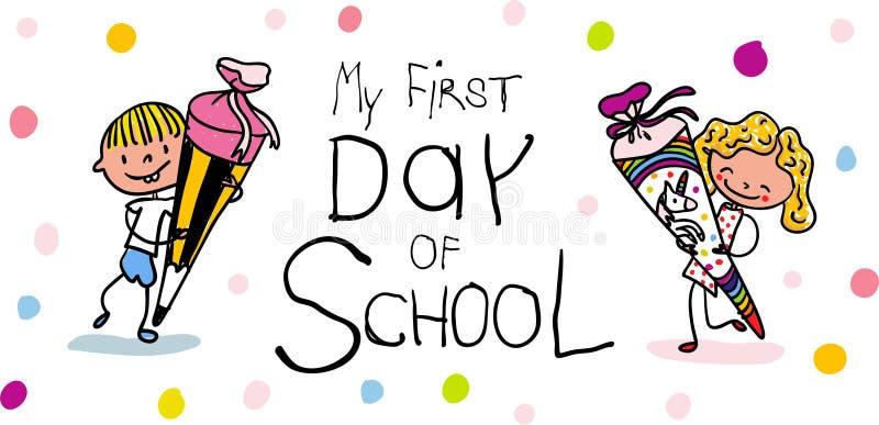 Inschrijving - Eerste Dag van school - Leuke eerste nivelleermachines met schoolkegels - kleurrijk hand getrokken beeldverhaal vector illustratie