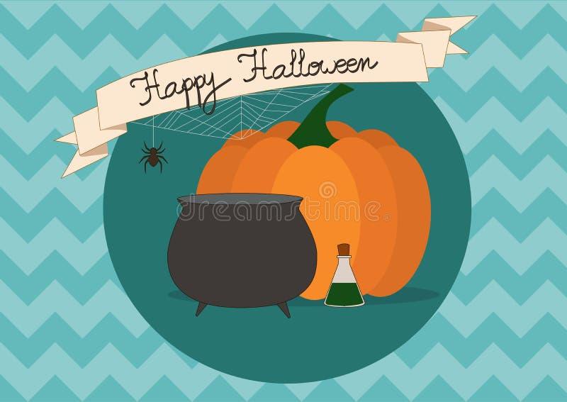 Inschrijving Halloween, pompoen en heksen` s ketel op blauwe zigzagachtergrond vector illustratie
